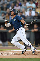 Center fielder Desmond Lindsay (2) of the Columbia Fireflies bats in a game against  the Charleston RiverDogs on Friday, June 9, 2017, at Spirit Communications Park in Columbia, South Carolina. Columbia won, 3-1. (Tom Priddy/Four Seam Images)