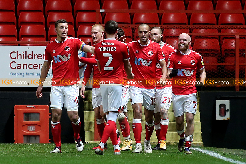 Jonny Williams (far right) celebrates scoring Charlton's third goal during Charlton Athletic vs AFC Wimbledon, Sky Bet EFL League 1 Football at The Valley on 12th December 2020