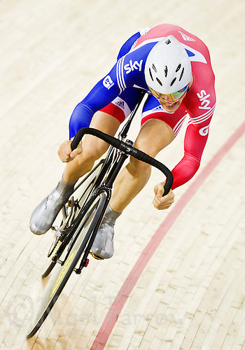 17 FEB 2012 - LONDON, GBR - Great Britain's Ben Swift (GBR) does his Flying Lap in the first round of the Men's Omnium during the UCI Track Cycling World Cup and London Prepares test event for the 2012 Olympic Games at the Olympic Park Velodrome in Stratford, London, Great Britain (PHOTO (C) 2012 NIGEL FARROW)