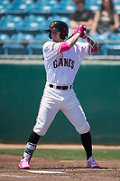 San Jose Giants center fielder Bryce Johnson (28) at bat during a California League game against the Lancaster JetHawks at San Jose Municipal Stadium on May 13, 2018 in San Jose, California. San Jose defeated Lancaster 3-0. (Zachary Lucy/Four Seam Images)