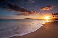 Sunset with wave. Maui, Hawaii.
