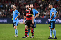 1st May 2021; Bankwest Stadium, Parramatta, New South Wales, Australia; A League Football, Western Sydney Wanderers versus Sydney FC; Graham Dorrans of Western Sydney Wanderers and Rhyan Grant of Sydney watch a replay of the penalty decision
