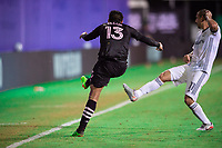 LAKE BUENA VISTA, FL - JULY 14: Victor Ulloa #13 of Inter Miami kicks the ball during a game between Inter Miami CF and Philadelphia Union at Wide World of Sports on July 14, 2020 in Lake Buena Vista, Florida.