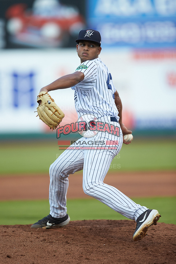 Pulaski Yankees starting pitcher Randy Vasquez (47) in action against the Burlington Royals at Calfee Park on September 1, 2019 in Pulaski, Virginia. The Royals defeated the Yankees 5-4 in 17 innings. (Brian Westerholt/Four Seam Images)