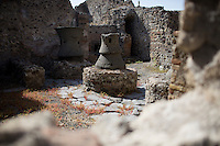 The ruins of a bakery is seen on Friday, Sept. 18, 2015, in Pompeii, Italy. The city of Pompeii was destroyed when nearby Mount Vesuvius erupted on August 24, AD 79. The town and its residents were buried and forgotten until the ruins were discovered and eventually excavated hundreds of years later. The ruins are one of Italy's top tourist attractions today. (Photo by James Brosher)