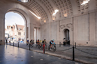 the breakaway group riding through the Menin Gate Memorial (with for once) including Mark Cavendish (GBR)(GBR/Bahrain-McLaren) who declared afterward that this might just have been his very last pro race ever...<br /> <br /> 82nd Gent-Wevelgem in Flanders Fields 2020 (1.UWT)<br /> 1 day race from Ieper to Wevelgem (232km)<br /> <br /> ©kramon