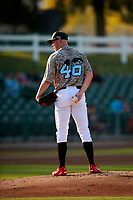 Inland Empire 66ers starting pitcher Blake Wood (46) looks to his catcher for the sign in a rehab start during a California League game against the Lancaster JetHawks at San Manuel Stadium on May 19, 2018 in San Bernardino, California. Inland Empire defeated Lancaster 9-6. (Zachary Lucy/Four Seam Images)