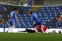 Wednesday 09 January 2013<br /> Pictured: Ramires of Chelsea (7) shoots the ball but is saved by goalkeeper Gerhard tremmel of Swansea (C)<br /> Re: Capital One Cup semifinal, Chelsea FC v Swansea City FC at the Stamford Bridge Stadium, London.