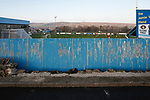 A view from outside the ground past the Jamie Vardy Stand. Stocksbridge Park Steels v Pickering Town,  Evo-Stik East Division, 17th November 2018. Stocksbridge Park Steels were born from the works team of the local British Steel plant that dominates the town north of Sheffield.<br /> Having missed out on promotion via the play offs in the previous season, Stocksbridge were hovering above the relegation zone in Northern Premier League Division One East, as they lost 0-2 to Pickering Town. Stocksbridge finished the season in 13th place.