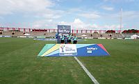 VILLAVICENCIO - COLOMBIA, 06-08-2021: Los equipos no se presentaron a los himnos durante partido entre Llaneros F. C. y Fortaleza CEIF de la Fase de Grupos de la fecha 6 por la Liga Femenina BetPlay DIMAYOR 2021 jugado en el estadio Bello Horizonte de la ciudad de Villavicencio. / Teams did not show up for anthems during a match between Llaneros F. C. and Fortaleza CEIF of the Group Phase the 6th date for the Women's League BetPlay DIMAYOR 2021 played at the Bello Horizonte stadium in Villavicencio city. / Photo: VizzorImage / Daniel Garzon / Cont.