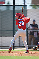 Philadelphia Phillies Curtis Mead (38) at bat during a Florida Instructional League game against the Atlanta Braves on October 5, 2018 at the Carpenter Complex in Clearwater, Florida.  (Mike Janes/Four Seam Images)