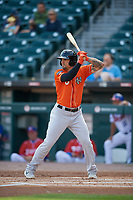 Norfolk Tides Jace Peterson (6) bats during an International League game against the Buffalo Bisons on June 21, 2019 at Sahlen Field in Buffalo, New York.  Buffalo defeated Norfolk 2-1, the first game of a doubleheader.  (Mike Janes/Four Seam Images)