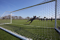 Pictured: Goalkeeper Gregor Zabret fails to make a save of a penalty kick Friday 24 March 2017<br /> Re: Swansea City U23 training ahead of their International Cup game against Porto, Fairwood training ground, UK