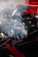 Feb 7, 2020; Pomona, CA, USA; Detailed view of the engine for the dragster of NHRA top fuel driver Doug Kalitta during qualifying for the Winternationals at Auto Club Raceway at Pomona. Mandatory Credit: Mark J. Rebilas-USA TODAY Sports