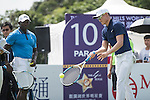 Dwight Yorke plays tennis at the 10th hole during the World Celebrity Pro-Am 2016 Mission Hills China Golf Tournament on 22 October 2016, in Haikou, China. Photo by Weixiang Lim / Power Sport Images