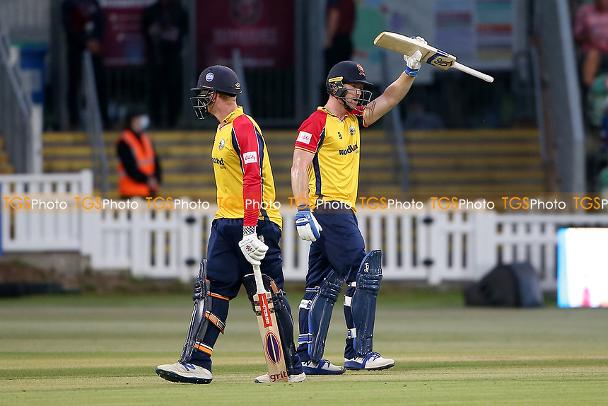 Jimmy Neesham raises his bat to celebrate reaching his fifty for Essex during Somerset vs Essex Eagles, Vitality Blast T20 Cricket at The Cooper Associates County Ground on 9th June 2021