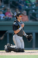 Catcher Jake Anchia (14) of the West Virginia Power plays defense in a game against the Greenville Drive on Sunday, May 19, 2019, at Fluor Field at the West End in Greenville, South Carolina. Greenville won, 8-4. (Tom Priddy/Four Seam Images)