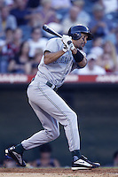 Randy Winn of the Tampa Bay Devil Rays bats during a 2002 MLB season game against the Los Angeles Angels at Angel Stadium, in Los Angeles, California. (Larry Goren/Four Seam Images)