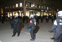 April 25, 2012 File Photo - Montreal, Quebec, CANADA - A student demonstration turn to riot.<br /> <br /> Through all spring and summer 2012 Quebec student took to the street to protest against the tuition hike imposed by the Liberal Government of Jean Charest.