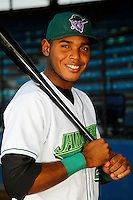 Jamestown Jammers outfielder Nestor Castillo #20 poses for a photo before a game against the Mahoning Valley Scrappers at Russell E. Diethrick Jr Park on September 2, 2011 in Jamestown, New York.  Mahoning Valley defeated Jamestown 8-4.  (Mike Janes/Four Seam Images)