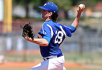 Hillsdale Chargers pitcher Matthew Reck #29 delivers a pitch during a game against the Alderson-Broaddus Battlers at the Chain of Lakes Complex on March 17, 2012 in Winter Haven, Florida.  (Mike Janes/Four Seam Images)