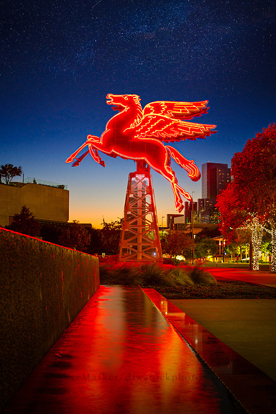 Pegasus, the flying red horse, is a neon sign located on the grounds of the Omni Hotel in Dallas, TX.