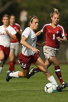 4 November 2007: Kelley O'Hara during Stanford's 2-1 overtime win over Washington State at Laird Q. Cagan Stadium in Stanford, CA.