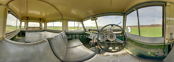 Unrestored and all original interior of a Land Rover 1962 Series 2a SWB. RELEASES AVAILABLE. Automotive trademarks are the property of the trademark holder, authorization may be needed for some uses. --- Note: This is a digitally stitched panoramic image.