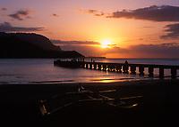 Hanalei Bay Pier at Sunset, Kauai, Hawaii, USA.