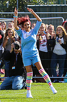 London, UK on Sunday 31st August, 2014. Amy Childs celebrates scoring during the Soccer Six charity celebrity football tournament at Mile End Stadium, London.
