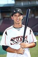 Javier Guerra (12) of the Lake Elsinore Storm poses for a photo before a game against the High Desert Mavericks at The Diamond on April 27, 2016 in Lake Elsinore, California. High Desert defeated Lake Elsinore, 10-2. (Larry Goren/Four Seam Images)