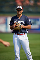 Reading Fightin Phils third baseman Damek Tomscha (13) warms up before the first game of a doubleheader against the Portland Sea Dogs on May 15, 2018 at FirstEnergy Stadium in Reading, Pennsylvania.  Portland defeated Reading 8-4.  (Mike Janes/Four Seam Images)