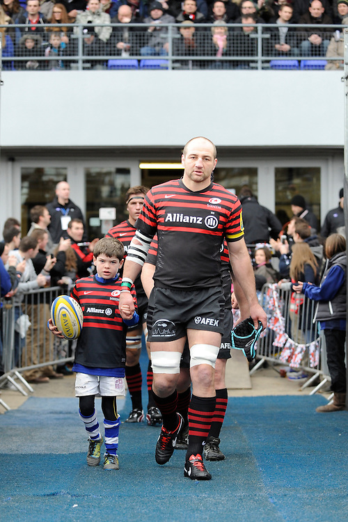 20130303 Copyright onEdition 2013©.Free for editorial use image, please credit: onEdition..Steve Borthwick of Saracens leads the team out for the Premiership Rugby match between Saracens and London Welsh at Allianz Park on Sunday 3rd March 2013 (Photo by Rob Munro)..For press contacts contact: Sam Feasey at brandRapport on M: +44 (0)7717 757114 E: SFeasey@brand-rapport.com..If you require a higher resolution image or you have any other onEdition photographic enquiries, please contact onEdition on 0845 900 2 900 or email info@onEdition.com.This image is copyright onEdition 2013©..This image has been supplied by onEdition and must be credited onEdition. The author is asserting his full Moral rights in relation to the publication of this image. Rights for onward transmission of any image or file is not granted or implied. Changing or deleting Copyright information is illegal as specified in the Copyright, Design and Patents Act 1988. If you are in any way unsure of your right to publish this image please contact onEdition on 0845 900 2 900 or email info@onEdition.com