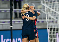ORLANDO, FL - FEBRUARY 24: Christen Press #23 of the USWNT celebrates with Lindsey Horan during a game between Argentina and USWNT at Exploria Stadium on February 24, 2021 in Orlando, Florida.