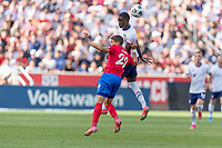 SANDY, UT - JUNE 10: Timothy Weah #21 of the United States heads the ball during a game between Costa Rica and USMNT at Rio Tinto Stadium on June 10, 2021 in Sandy, Utah.