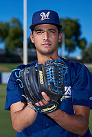 AZL Brewers Blue Moises Ruiz (31) poses for a photo before an Arizona League game against the AZL Athletics Gold on July 2, 2019 at American Family Fields of Phoenix in Phoenix, Arizona. AZL Athletics Gold defeated the AZL Brewers Blue 11-8. (Zachary Lucy/Four Seam Images)