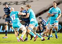8th January 2021; AJ Bell Stadium, Salford, Lancashire, England; English Premiership Rugby, Sale Sharks versus Worcester Warriors;  Akker Van De Merwe of Sale Sharks is tackled by Matt Kvesic of Worcester Warriors