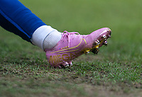 CARSON, CA - FEBRUARY 9: Megan Rapinoe #15 of the United States warms up in her one of a kind Nike shoes celebrating her Ballon d'Or win during a game between Canada and USWNT at Dignity Health Sports Park on February 9, 2020 in Carson, California.