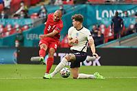 7th July 2021, Wembley Stadium, London, England; 2020 European Football Championships (delayed) semi-final, England versus Denmark;   Martin BRAITHWAITE DEN shoots past John STONES ENG