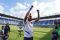 SAN JOSE, CA - SEPTEMBER 30: Anibal Godoy #20 of the San Jose Earthquakes is honored prior to a Major League Soccer (MLS) match between the San Jose Earthquakes and the Seattle Sounders on September 30, 2019 at Avaya Stadium in San Jose, California.