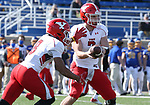 BROOKINGS, SD - MARCH 13: Mark Waid #7 of the Youngstown State Penguins hands the ball off to teammate Jaleel McLaughlin #8 during their game against the South Dakota State Jackrabbits at Dana J. Dykhouse Stadium on March 13, 2021 in Brookings, South Dakota. (Photo by Dave Eggen/Inertia)