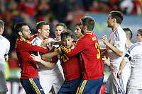Spain's Alvaro Negredo (l), David Jimenez Silva (c) and Gerard Pique have words with Finland's players during international match of the qualifiers for the FIFA World Cup Brazil 2014.March 22,2013.(ALTERPHOTOS/Acero)