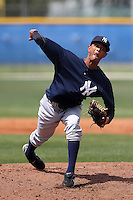 New York Yankees minor league player pitcher Kelvin Perez #21 delivers a pitch during a game vs the Toronto Blue Jays at the Englebert Minor League Complex in Dunedin, Florida;  March 21, 2011.  Photo By Mike Janes/Four Seam Images