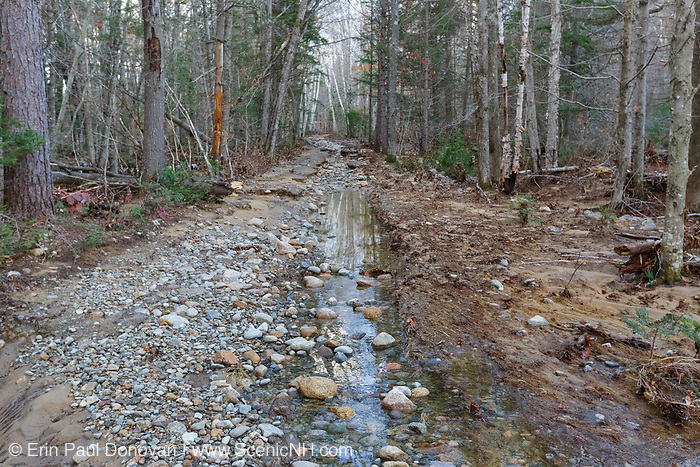 Flood damage along the Pemi East Side Trail / Road in Lincoln, New Hampshire on October 31, 2017 after heavy rain and strong winds from an October 29-30, 2017 storm.