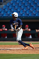Michael Braswell (14) of Campbell HS in Mableton, GA playing for the Milwaukee Brewers scout team during the East Coast Pro Showcase at the Hoover Met Complex on August 3, 2020 in Hoover, AL. (Brian Westerholt/Four Seam Images)