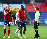 17th October 2020; Liberty Stadium, Swansea, Glamorgan, Wales; English Football League Championship Football, Swansea City versus Huddersfield Town; Richard Stearman of Huddersfield Town is shown a yellow card for a foul in the second half