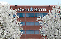 Omni Hotel in spring time located on the downtmall mall in Charlottesville, Va.