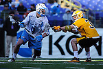 Face-Off Classic: Midfielder John Greeley #9 Hopkins attacks the goal on Midfielder Brian Patton #31 of the UMBC Retrievers  during the UMBC v Johns Hopkins mens lacrosse game at M&T Bank Stadium on March 10, 2012 in Baltimore, Maryland. (Ryan Lasek/ Eclipse Sportswire)