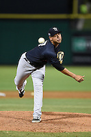 Tampa Yankees pitcher Gabriel Encinas (57) delivers a pitch during a game against the Clearwater Threshers on April 21, 2015 at Bright House Field in Clearwater, Florida.  Clearwater defeated Tampa 3-0.  (Mike Janes/Four Seam Images)
