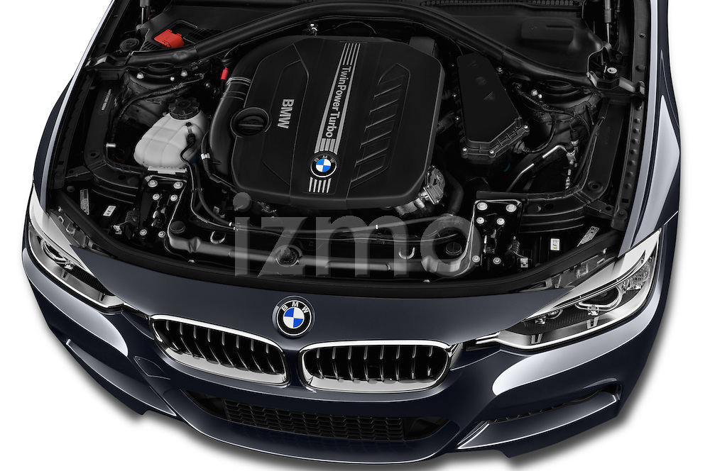 Car Stock 2015 BMW 3 Series 328d xDrive Sports Wagon 5 Door Wagon Engine  high angle detail view
